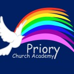 Priory Church Academy Logo Blue Background